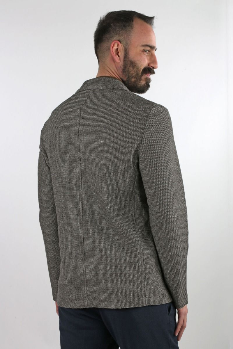 JACKET SINGLE-BREASTED DECONSTRUCTED TEXTURED IN JERSEY