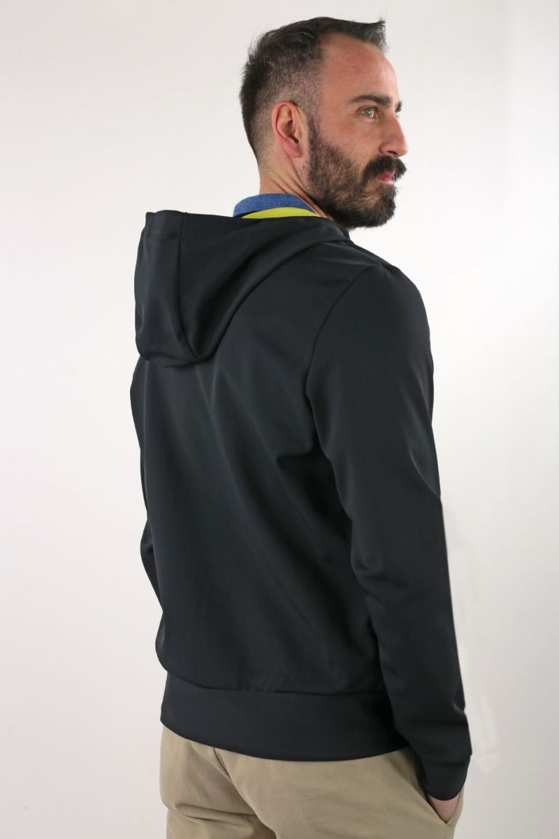 JACKET TECHNICAL WITH HOOD AND CONTRASTING INTERIOR