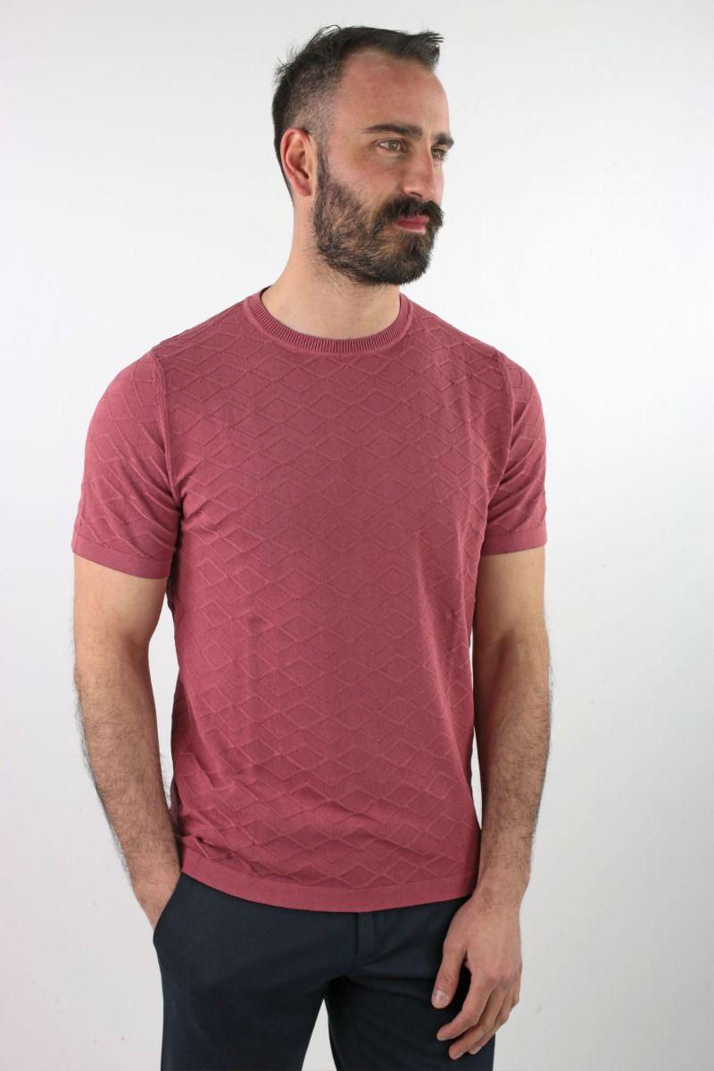 ROUND NECK SHORT SLEEVE IN PURE COTTON RHOMBUSES WORKING