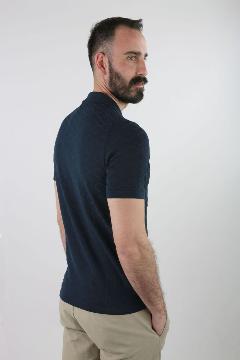 POLO SHIRT SHORT SLEEVE IN PURE COTTON RHOMBUSES WORKING