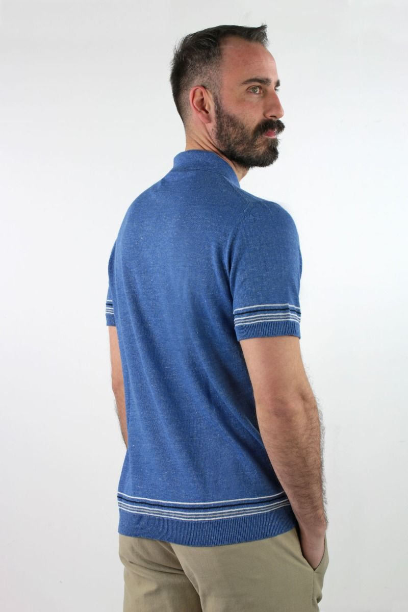 POLO SHIRT IN COTTON AND LINEN WITH LITTLE LINES