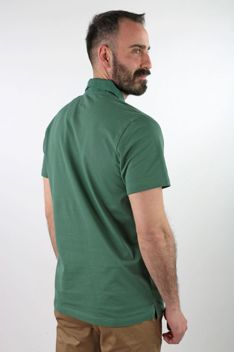 POLO SHIRT SHORT SLEEVE PIQUET WITH NECK AND FRONT PLACKET IN LINEN