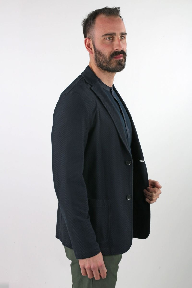 JACKET SINGLE-BREASTED DECONSTRUCTED IN JERSEY FISH BONE WORKING